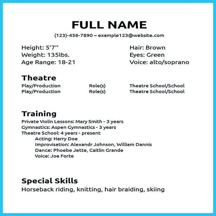 Actor Resume Sample Presents How You Will Make Your Professional Or Beginner Actor Resume The Acting Acting Resume Acting Resume Template Resume No Experience
