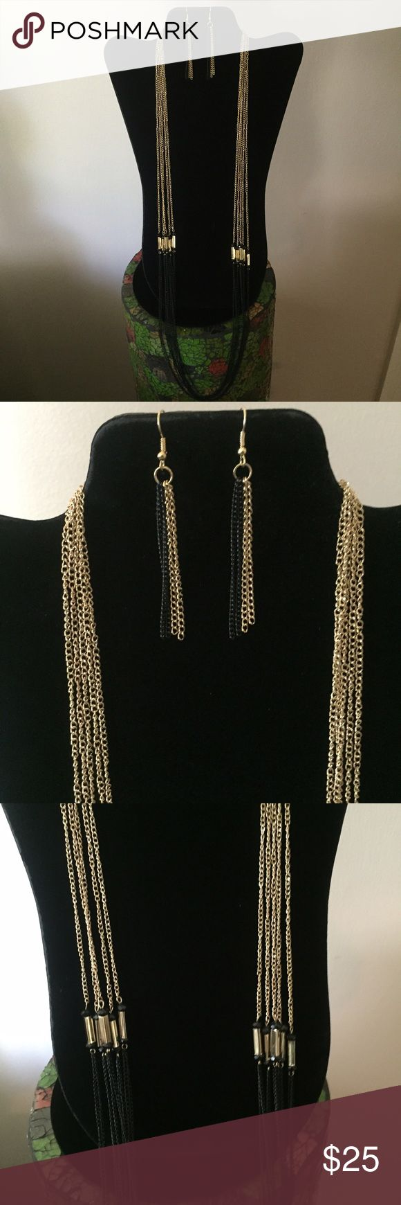 Black And Gold Set Multi Strand Black And Gold Necklace And Earring Set  Long