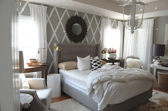 Duct taped wall diamonds... WOW! By Nesting Place. Gorgeous room.