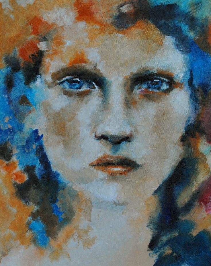 """Orange on Blue"" #art #paintings #oiloncanvas"