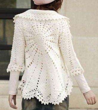 White Circle Bolero free crochet graph pattern