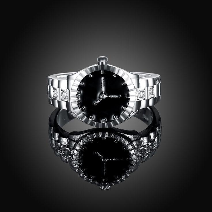 Креативный Дизайн Серебряные Часы Форма Палец Кольцо С Циркон Женщина Модные Аксессуары Партия Стиль Рождественские Подарки R887