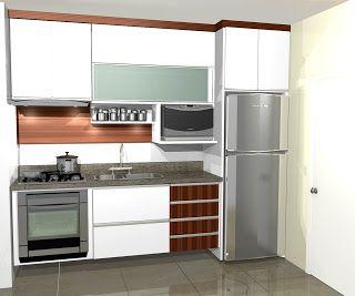 Cozinhas planejadas: Cozinhas pequenas planejadas Rever a altura do microondas
