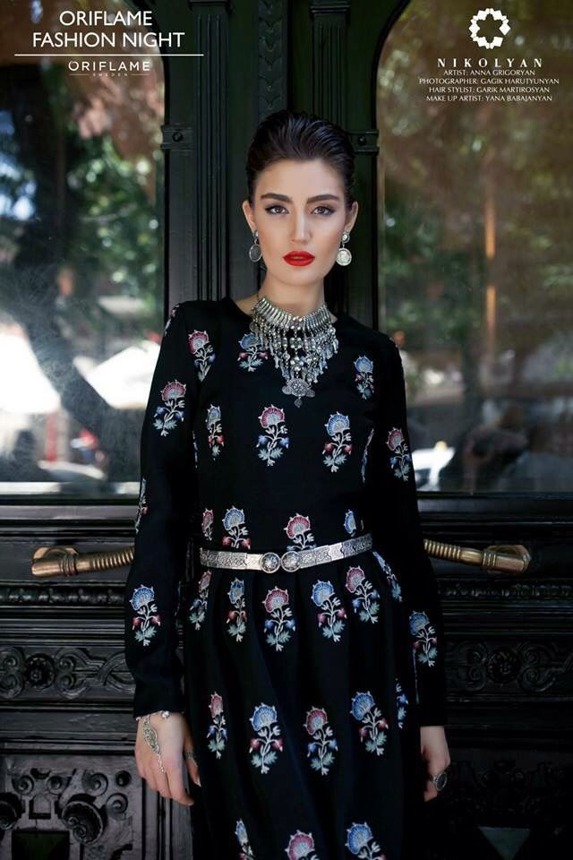 Modern clothes with Armenian traditional Urfa embroidery made by designer Aram Nikolyan.