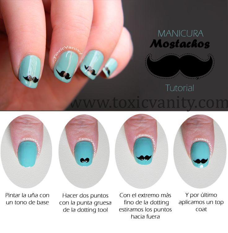 Día 26 : Uñas decoradas con Mostachos / Moustache nail art