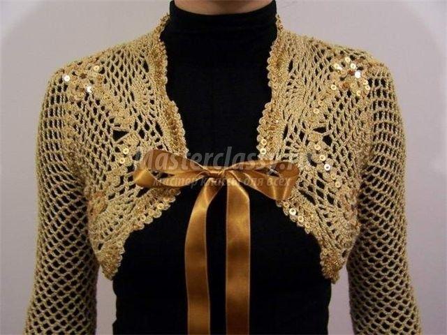 Вязаное болеро крючком. Схема и описание / Вязание / Вязание крючком