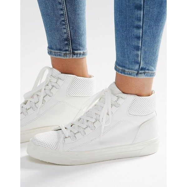 ASOS DOWN LOAD High Top Sneakers (£17) ❤ liked on Polyvore featuring shoes, sneakers, white, asos shoes, white shoes, high top shoes, hi tops and white trainers