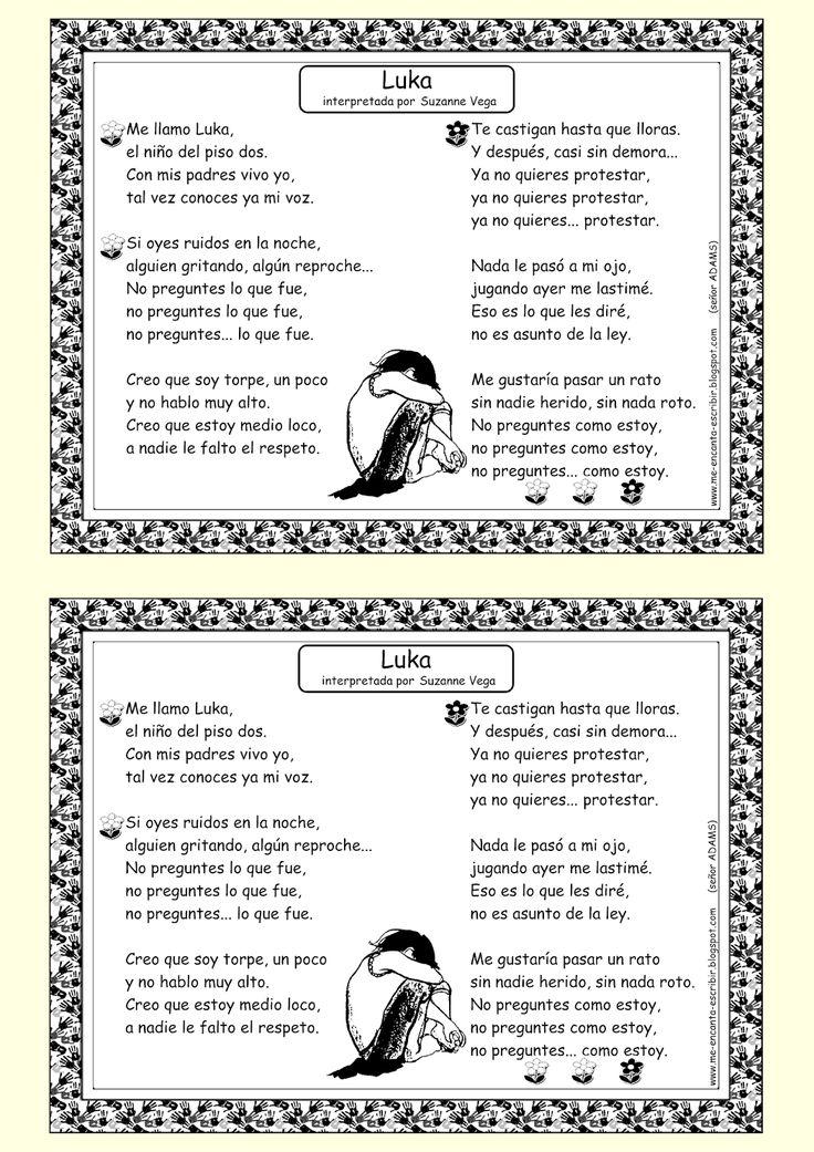 Me encanta escribir en español: Canción: Luka (Suzanne Vega)