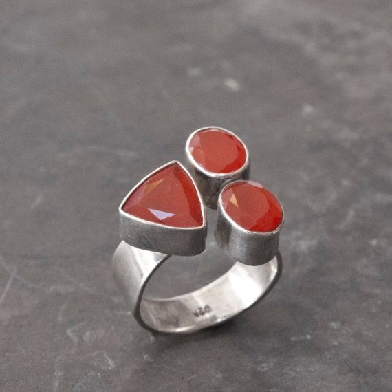 Carnelian Gemstone Ring Sterling Silver Natural by SunSanJewelry