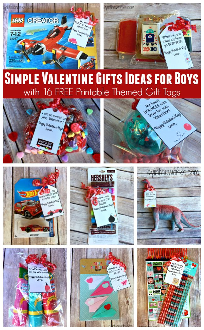 Need a simple Valentine gift idea for boys? It can be done! Check out these 16 different themed Valentine gift ideas that are perfect for a small token of your affection for your sons or grandsons (and lots that girls will like too!). Plus I am offering 16 FREE printable gift tags to go with them!