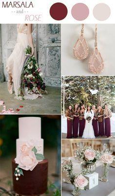 marsala and rose winter wedding color ideas 2015