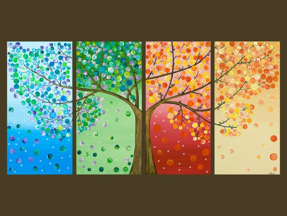 Love this... I would not have leaves on the winter scene, just snowflakes. For the Spring scene I would have small buds and for Summer I would have greener leaves. I do like this idea to show warm and cool color tones however.