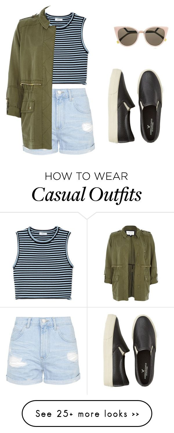 """""""Casual"""" by abbeyrose27-1 on Polyvore featuring moda, Topshop, A.L.C., River Island, American Eagle Outfitters e Fendi"""