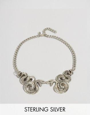 Regal Rose – Malice – Halloween-Kragenkette mit doppeltem Schlangendesign
