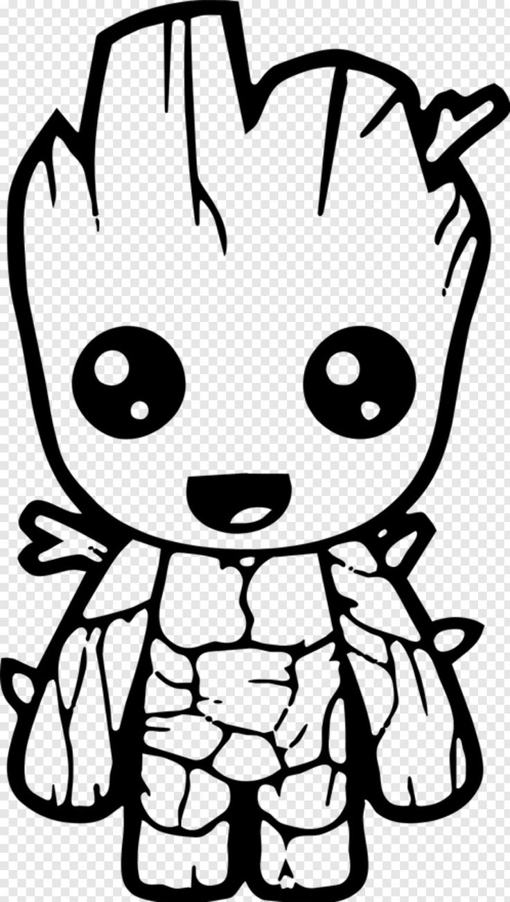 Baby Groot Cute Avengers Coloring Pages, HD Png Download