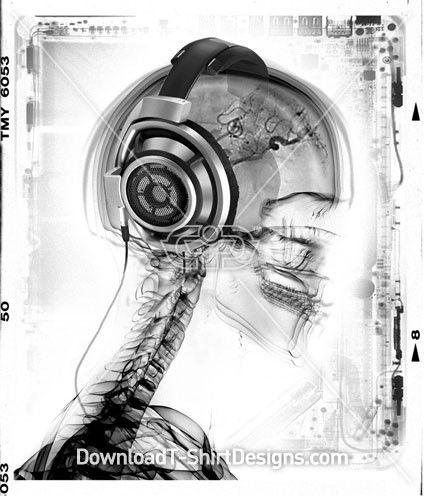 Headphones Skeleton Xray Music - Mens T-Shirt Designs