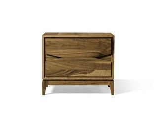 Rectangular walnut bedside table with drawers M-131 | Bedside table - Dale Italia