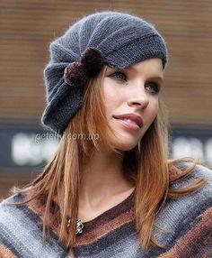 Интересная женская шапочка спицами. Описание вязания