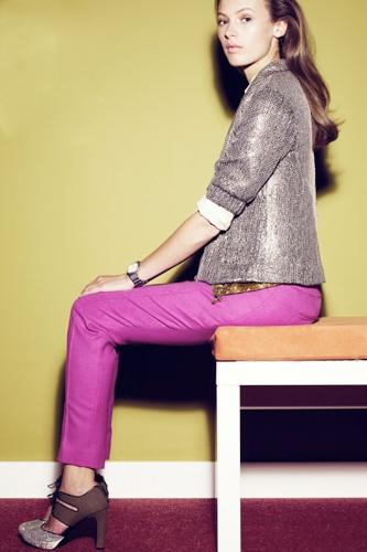 Bright pants + blazer for evening