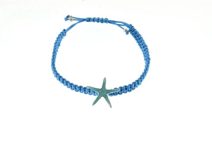 New to Giampouras on Etsy: Macrame Bracelet Sterling Silver Starfish Blue Enamel Charm Summer Jewelry Silver Jewelry Enamel Jewelry Giampouras (28.00 EUR)