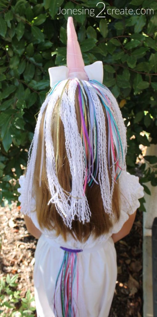 DIY Yarn Unicorn mane and tail with unicorn horn headband  6f61e0c8c5a