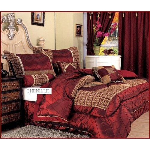 Amazon Com 7 Pieces Burgundy Red And Gold Satin Chenille