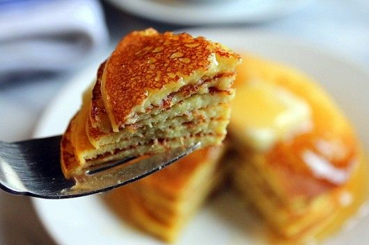 Pancakes -- YUMMY - Cottage Cheese, eggs and very little flour ..... add vanilla and sugar, top with butter and syrup .... oh yum baby