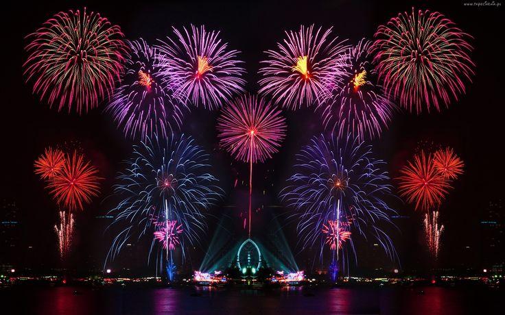 Nowy Rok, Panorama, Miasta, Nocą, Fajerwerki