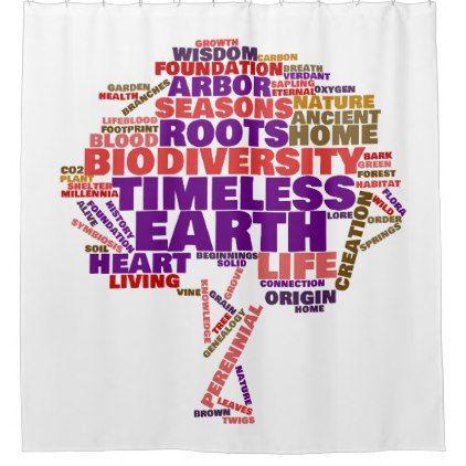 Inspirational Tree of Life Tag Cloud Shower Curtain - original gifts diy cyo customize