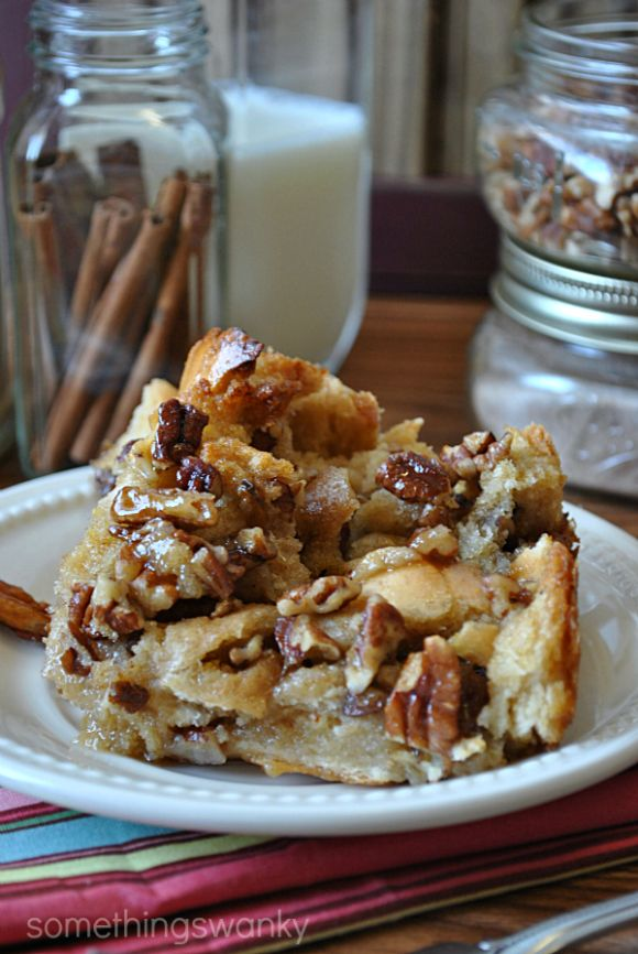 This bread pudding is phenomenal. Like… maybe my new favorite thing. Granted, I say that about a lot of treats, but I'm serious this time! No funny business. It's literally Pecan Pie (sans crust) poured over bread pieces and baked like a pudding. No weird texture, nothing slimy even. It's just like the most heavenly french toast you've ever eaten… ever.