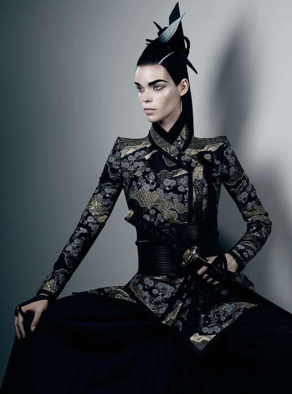 Striking Samurai Photoshoots - The Honor Interview Magazine Editorial Marries Femininity and Power