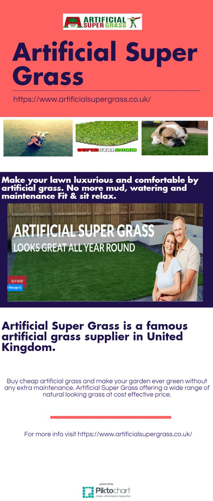 Buy cheap artificial grass and make your garden evergreen without any extra maintenance. Artificial Super Grass offering a wide range of natural looking grass at cost effective price. For more info visit https://www.artificialsupergrass.co.uk/