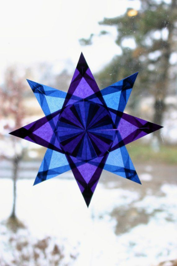 Window Star in Blue and Purple with 8 Points door harvestmoonbyhand