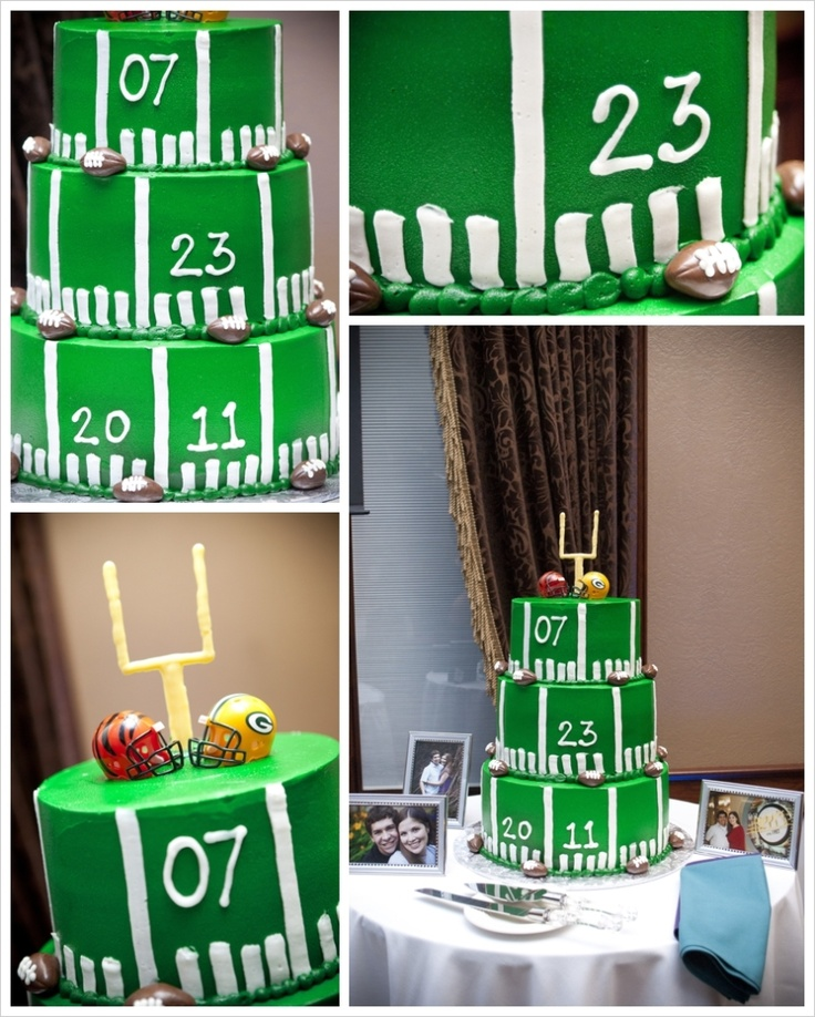 Our football wedding cake! #packers #bengals (taken by @Mindy Burton Hiatt)