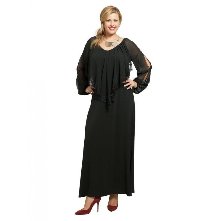 Μάξι φόρεμα λαιμόκοψη μουσελίνα (4845)