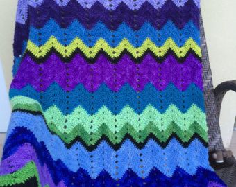 Merino Wool Blanket Chevron Pattern crocheted with soft yarn in blue,aqua, green,violet purple and black color. Colorful throw  $450