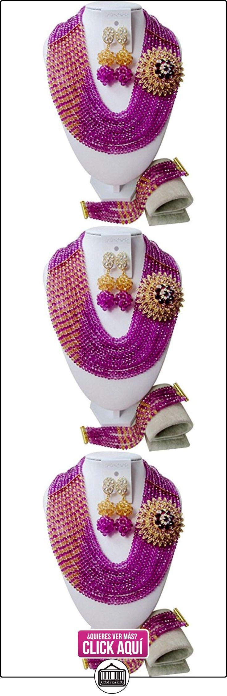 laanc Sylish Niñas boda nigeriano cuentas africanos joyería conjuntos regalo 10filas rosa y oro champán cristal a00057  ✿ Joyas para niñas - Regalos ✿ ▬► Ver oferta: https://comprar.io/goto/B01N9OQU1Z