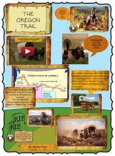 The Oregon Trail is a 2,200-mile (3,500 km) historic east-west large wheeled wagon route and emigrant trail that connected the Missouri River to valleys in Oregon. The eastern part of the Oregon Trail spanned part of the future state of Kansas and nearly all of what are now the states of Nebraska and Wyoming. #Glogster #OregonTrail
