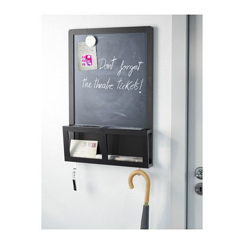 Perfect for the dorm room! Reminders, keys, etc. LUNS Writing/magnetic board IKEA Perfect for keys, mail and mobile phones. You can write messages with chalk and use magnets on the board.