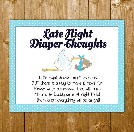 Stork Diaper Thoughts, Baby Shower Games, Blue Diaper Thoughts for Boys, Printable, Instant Download