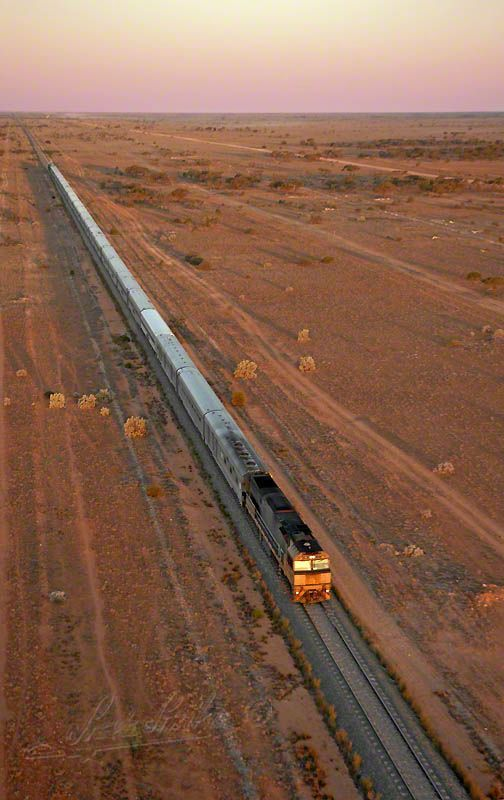 GSR-Indian-Pacific . Train that crosses the Nullarbor Plain from Adelaide, South Australia to Perth in West Australia