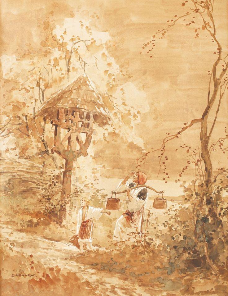 + Ignat Bednarik, De la râu - acuarelă pe hârtie lipită pe carton, 61,5 × 46,5 cm, semnat stânga jos, cu brun, I. Bednarik