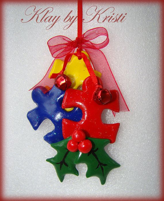 Autism Awareness Christmas Puzzle Piece Ornament, Great Teacher Gift