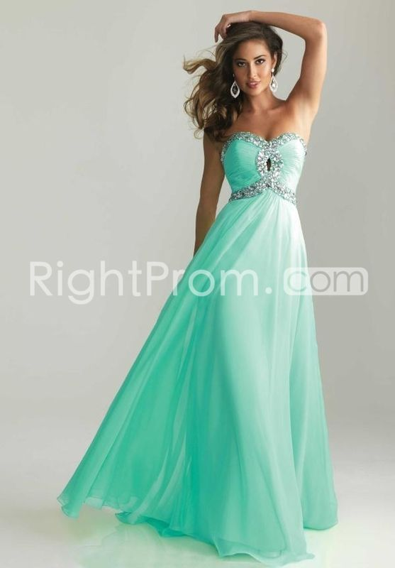 2014 Style A-line Sweetheart Rhinestone Sleeveless Floor-length Chiffon Prom Dresses / Evening Dresses