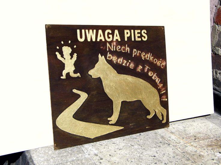 Note the dog ! Sign on the property Uwaga Pies - tabliczki na posesję http://selawiart.blogspot.com/2014/10/uwaga-pies.html