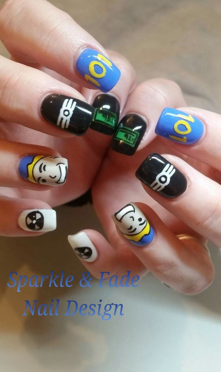 Handpainted Fallout Nails - Done by Christine Ingalls of Sparkle and Fade Nail Design  https://www.facebook.com/SparkleAndFadeNailDesign