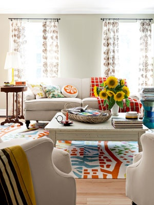 House Tour A Colorful Cheerful Home Home Decor Living Room Creamy Walls And Furniture Create A Neutral Backdrop For A Riot Of Zippy Patterns Florals And