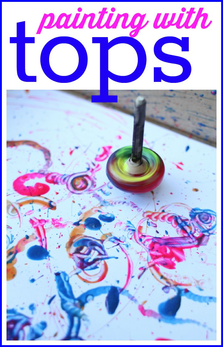 Painting with spinning tops:  A fun and unique art activity for children of all ages!