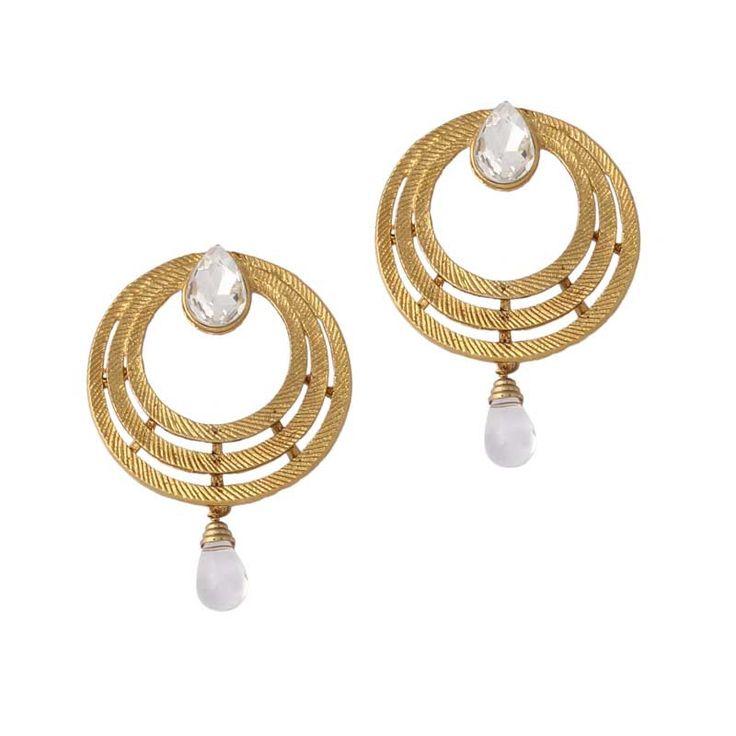 Golden Gold Plated Austrian Diamond Earrings