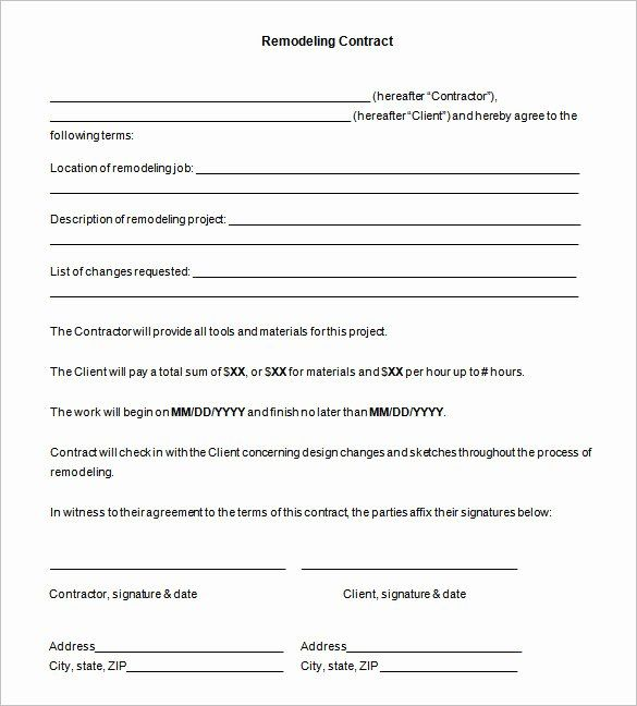 Home Improvement Contract Template In 2020 Contract Template